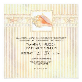 Arte elegante dos casamentos de Shell do Conch da Convite Quadrado 13.35 X 13.35cm