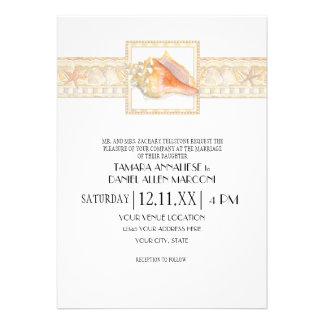 Arte elegante dos casamentos de Shell do Conch da  Convites Personalizado
