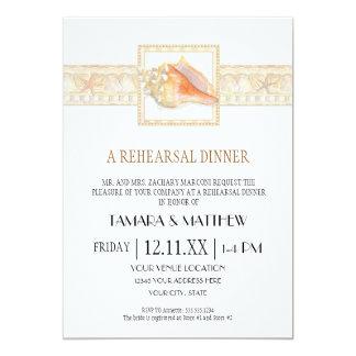 Arte elegante dos casamentos de Shell do Conch da Convite 12.7 X 17.78cm