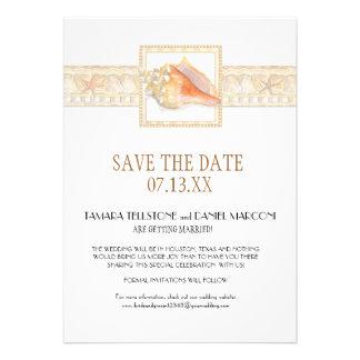 Arte elegante dos casamentos de Shell do Conch do  Convites Personalizados