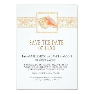 Arte elegante dos casamentos de Shell do Conch do Convite 12.7 X 17.78cm