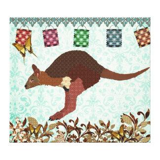 Arte enevoada azul das canvas do dia do Wallaby Impressão Em Tela