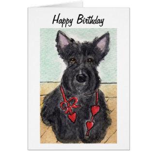 Arte escocesa do cartão de aniversário do terrier