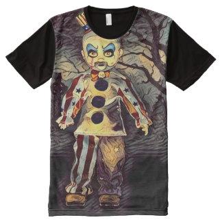 Arte escura do horror do palhaço assustador do camiseta com impressão frontal completa