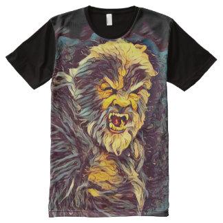 Arte escura variante do horror de Wolfman Camiseta Com Impressão Frontal Completa