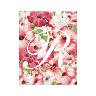 Arte esticada floral das canvas da aguarela