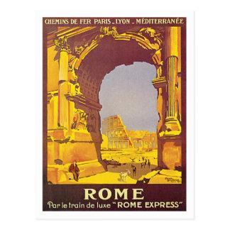 Arte expressa do poster de viagens de Roma Italia Cartão Postal