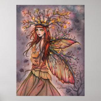Arte feericamente da fantasia da rainha do outono poster