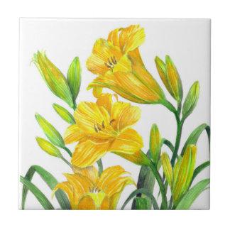 Arte floral amarela dos lírios de dia da aguarela