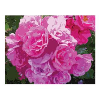 Arte floral cor-de-rosa cartão postal