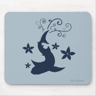 Arte floral Mousepad do vetor do tubarão de baleia