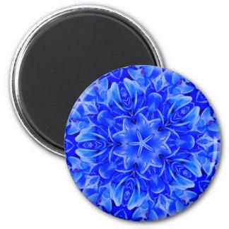 Arte floral roxa azul do design do caleidoscópio ímã redondo 5.08cm