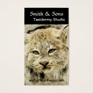 Arte fotográfica da taxidermia selvagem do lince cartão de visitas