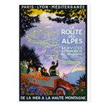 Arte francesa do poster de viagens do vintage cartões postais