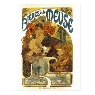 Arte francesa do poster do vintage de meuse do la cartão postal