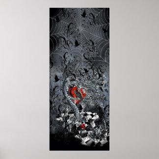 Arte gótico do poster do coração do corvo