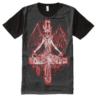Arte ímpio do Airbrush do demónio do comunhão de Camiseta Com Impressão Frontal Completa