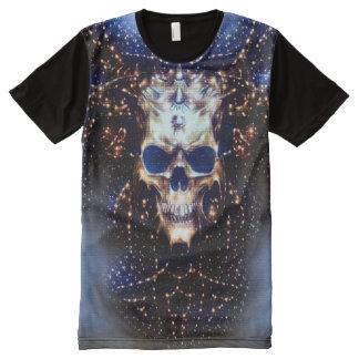Arte interestelar da fantasia do crânio camiseta com impressão frontal completa