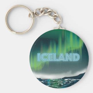 Arte islandêsa do viagem da aurora boreal chaveiro