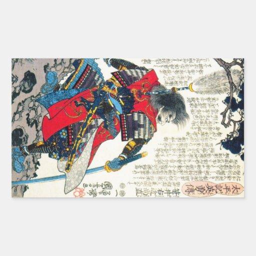 Arte japonesa clássica oriental legal do guerreiro adesivo retângular