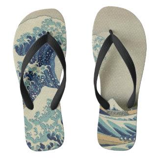 Arte japonesa do vintage, a grande onda por chinelos