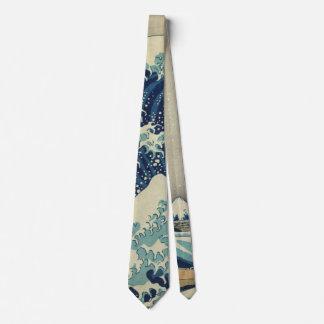 Arte japonesa do vintage, a grande onda por gravata