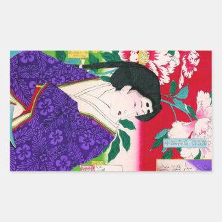 Arte japonesa oriental legal da senhora da gueixa adesivo retangular