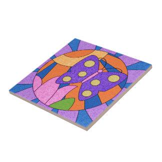 Arte lunática colorida do azulejo da borboleta