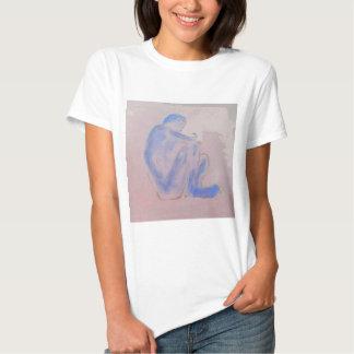 Arte malva figurativa azul t-shirt