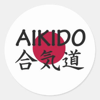 Arte marcial do japonês do Aikido Adesivos Em Formato Redondos