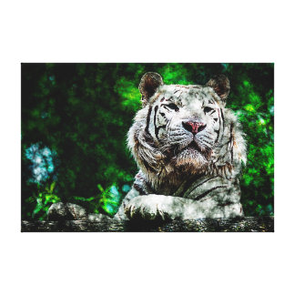 Arte - meios mistos brancos do tigre das canvas impressão de canvas esticadas
