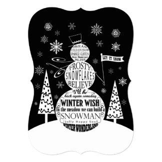 arte moderna da tipografia do boneco de neve do convite 12.7 x 17.78cm