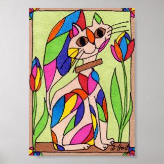 Arte moderna do gato do art deco do arco-íris mini pôster