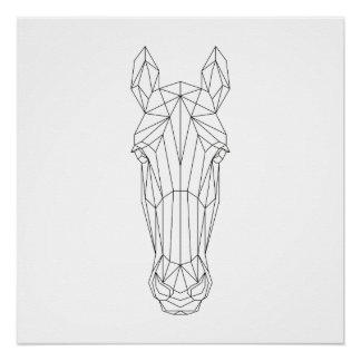 Arte moderna preta da cabeça de cavalo & branca poster perfeito