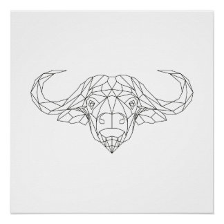 Arte moderna preta do búfalo & branca geométrica poster perfeito