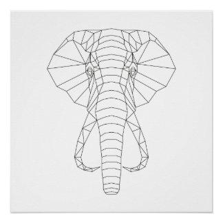 Arte moderna preta do elefante & branca geométrica poster perfeito