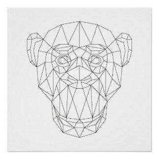 Arte moderna preta do macaco & branca geométrica poster perfeito