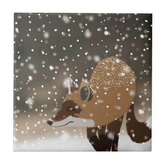 Arte nevado da floresta do inverno da raposa azulejo quadrado pequeno
