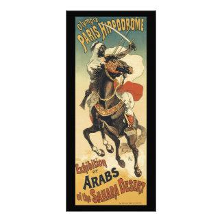 Arte Nouveau do vintage, árabes do deserto de 10.16 X 22.86cm Panfleto