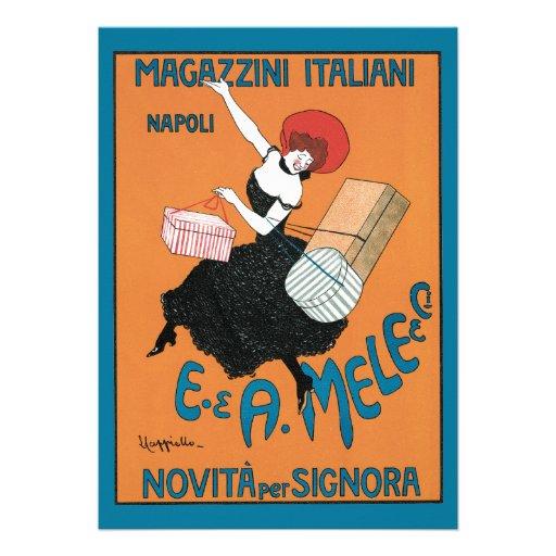 Arte Nouveau do vintage; Forma italiana para mulhe Convites Personalizados
