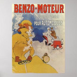 Arte Nouveau do vintage, mulher que conduz o carro Pôster