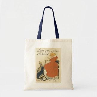 Arte Nouveau do vintage, rapariga que dá a gatos o Sacola Tote Budget