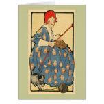 Arte Nouveau - menina que faz malha com seu gato Cartões