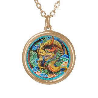 Arte oriental japonesa tradicional legal da colar banhado a ouro