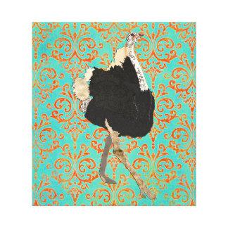 Arte ornamentado das canvas do damasco da avestruz impressão em tela
