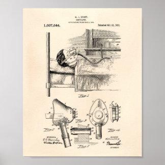 Arte Peper velho da patente do respirador 1911 Pôster