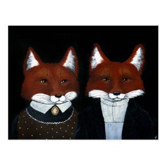 Arte popular bonito das raposas, cartão gótico