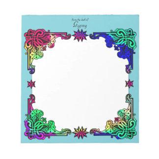 Arte popular colorida boémia floral aciganada de bloco de anotação