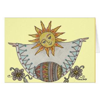Arte popular do ucraniano do nascer do sol da cartão comemorativo