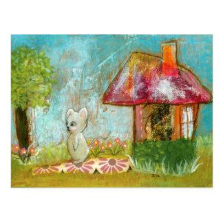 Arte popular lunática do rato da floresta do dia cartão postal